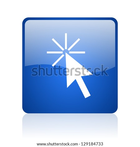 click here blue square glossy web icon on white background