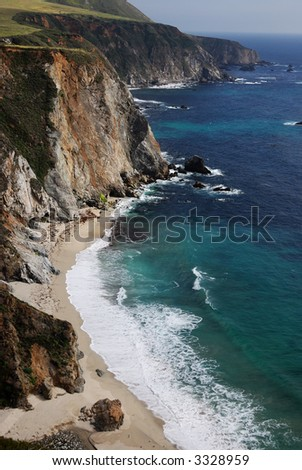 Cliffs and beach along Big Sur in central California
