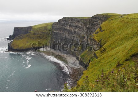 Cliffs of moher in Ireland, in a cloudy day