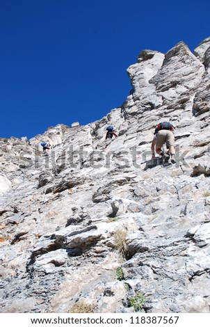 Climbers on the rocky mountain wall