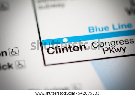 Clinton Station Chicago Metro Map Stock Photo Shutterstock - Chicago metro map