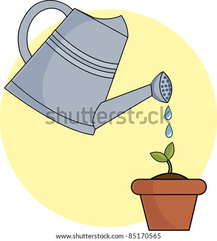 Clip Art Illustration Watering Can Pouring Stock ...