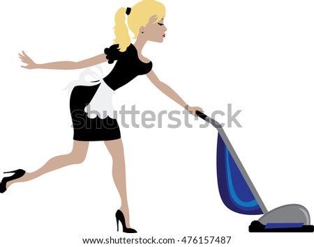 Clip art image of a maid with blonde hair vacuuming.