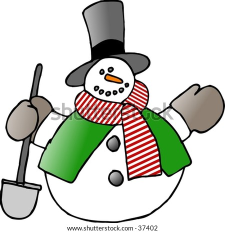 Clipart illustration of a snowman with a shovel