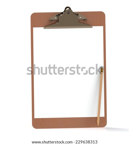 Clipboard and wooden pencil  isolsted on white background