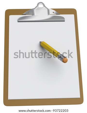 Clipboard with a stubby pencil on a white background