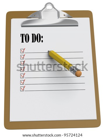 Clipboard with To Do message and stubby pencil on white background