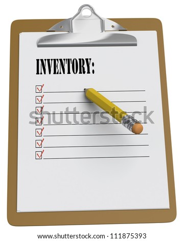 Clipboard with word Inventory and stubby pencil on white background
