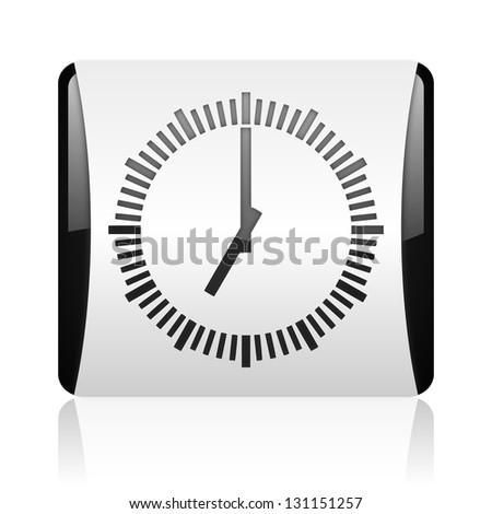 clock black and white square web glossy icon