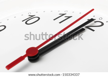 Clock countdown to midnight on white background