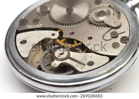 clock mechanism on the white background