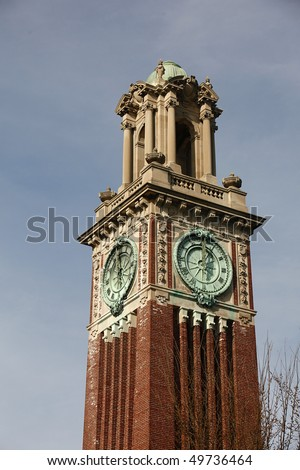 Clock Tower at Brown University Campus, Providence, Rhode Island.