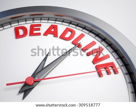 Clock with words deadline on its face