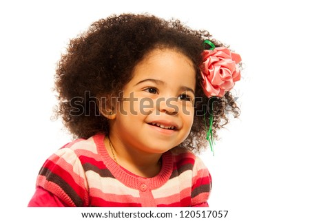 Close portrait of little African girl isolated on white
