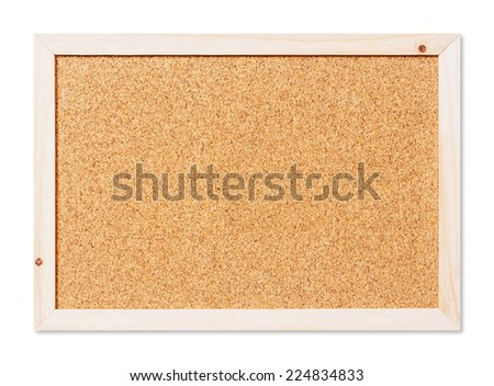Close up blank corkboard isolated on white with path