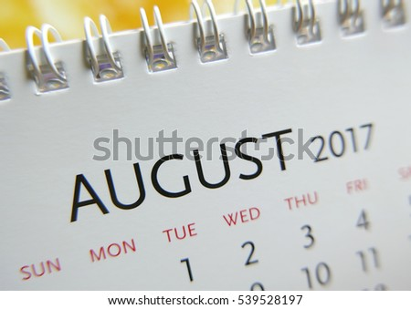 Close up calendar of August 2017
