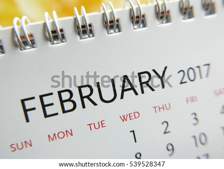 Close up calendar of February 2017
