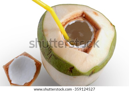 close - up drinking coconut water on white background