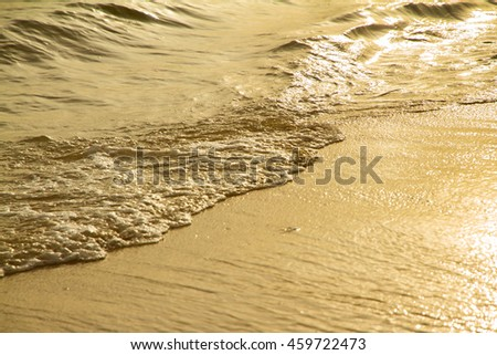 Close up golden sea wave on the sandy beach at sunset.