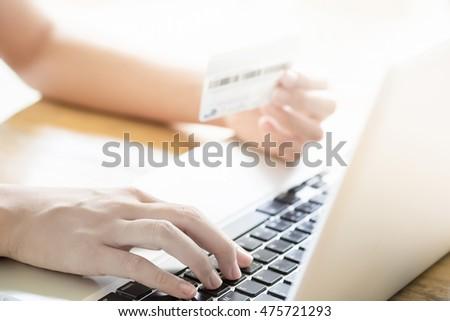 closeup hands shoppingpaying online using laptop stock photo 267111842 shutterstock. Black Bedroom Furniture Sets. Home Design Ideas