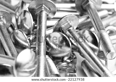 close up heap of  bolts and nuts