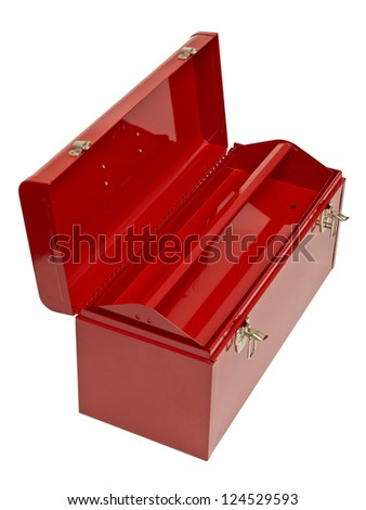 Close-up image of an empty red toolbox isolated on a white background