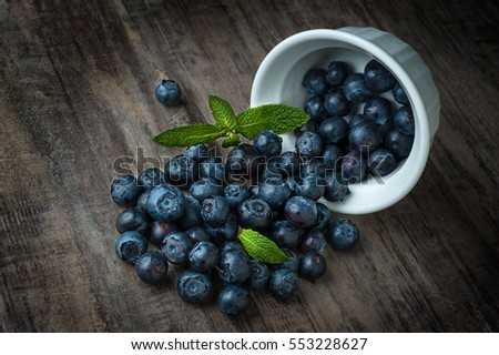 Close-up image of blueberries and bowl