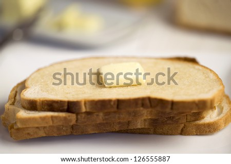 Close up image of bread and butter