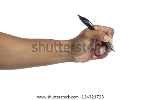 Close up image of hand holding a pen against white background