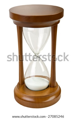 close-up isolated on white brown hourglass