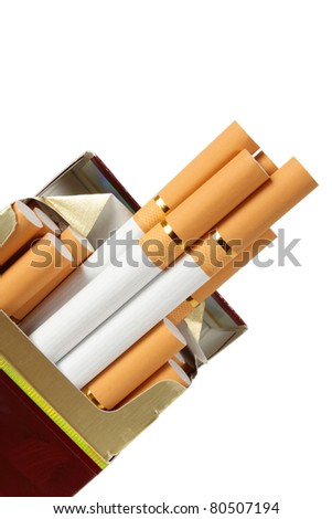 close up of a box of cigarettes on white background with clipping path