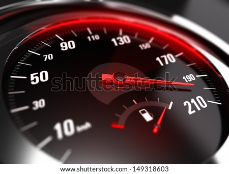 Close up of a car speedometer with the needle pointing a high speed, blur effect, conceptual image for excessive speeding or careless driving concept