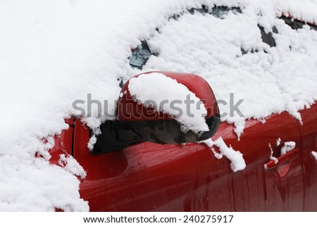 Close-up of a car under the snow