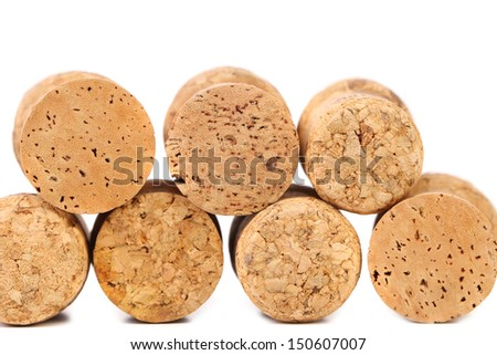 Close up of a champagne corks. White background.