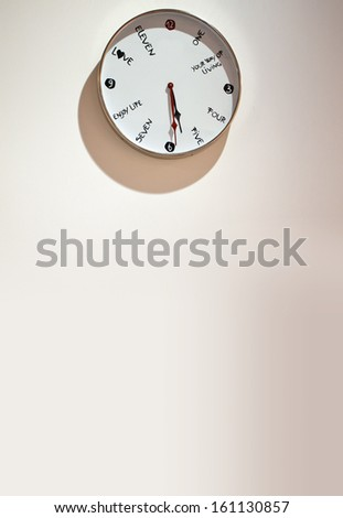 Close up of a clock on background of wall with copy space