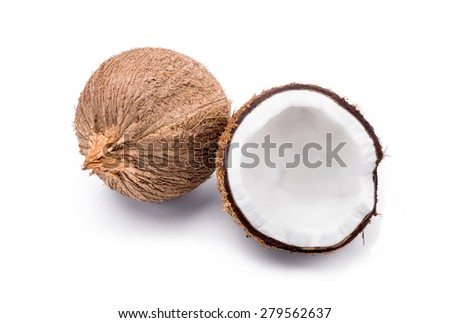 close up of a coconut on white background.