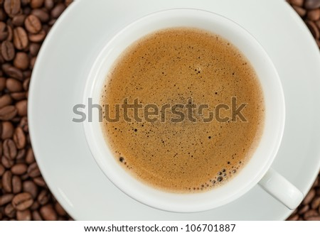 Close-up of a Cup of Coffee with Foam