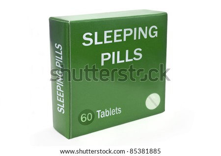 "Close up of a green box with the words ""SLEEPING PILLS"" arranged over white."