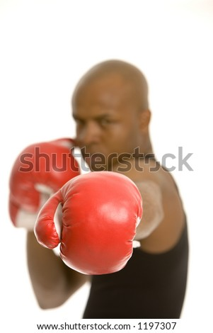 Close up of a punch, glove in focus