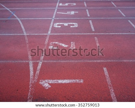 close up of a running track in rain