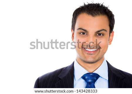 Close-up of a smiling businessman isolated on white background
