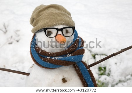 Close up of a snowman's face, with eyeglasses, hat, scarf and a carrot nose