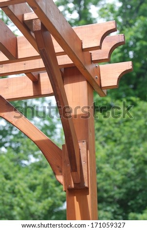 Close-up of a wooden garden pergola