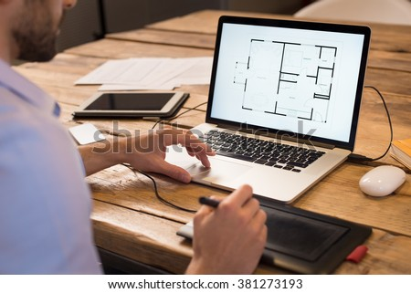 Top view architectural blueprints rolls drawing stock photo 393908467 shutterstock for Best tablet for interior designers
