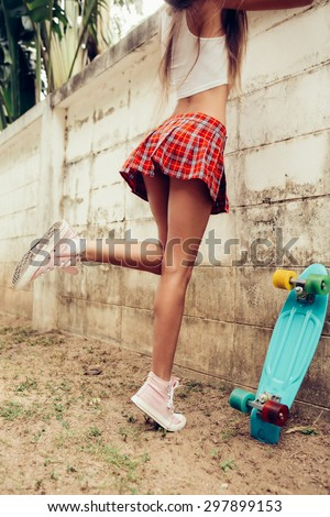 Close Young Girl Sporty Ass Red Stock Photo 297898823