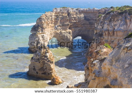 Close up of art stone in Marinha beach,  on the Atlantic coast in Portugal,Algarve in summer background.