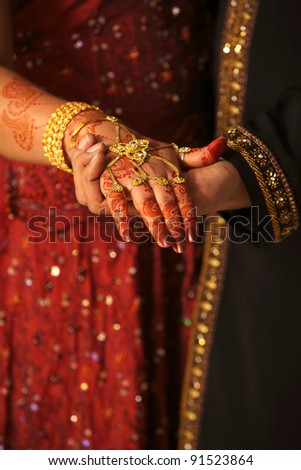 Close Asian Couples Hands Wedding Concept Stock Photo