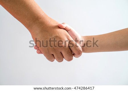 Close up of Asian mothers check hand with young girl hand. Isolated on white background.