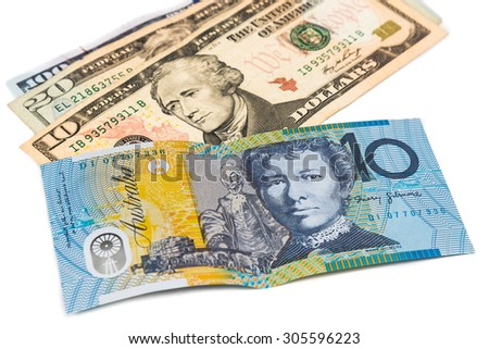 Close up of Australian Dollar currency note against US Dollar.