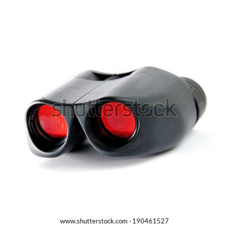 Close up of binoculars isolated on white background, selective focus.